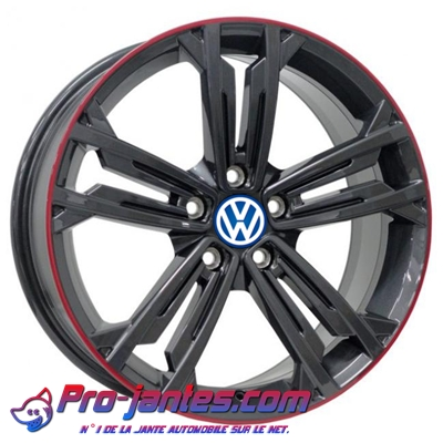 "Pack jantes volkswagen Golf-Touran Anthracite Lip Red 18""pouces"